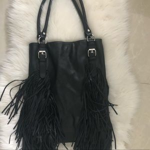 Urban Outfitters Black Leather Fringes Tote Bag
